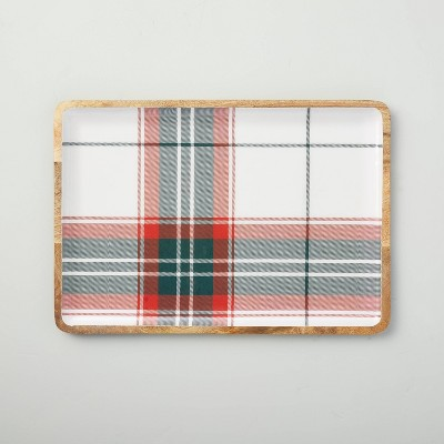 Holiday Plaid Enamel & Wood Serve Tray Red/Green - Hearth & Hand™ with Magnolia