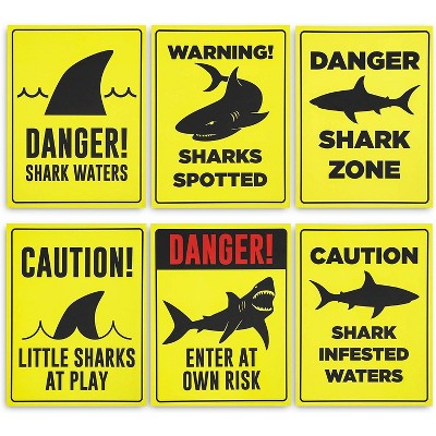 """6-Pack Shark Zone Party Signs, Ocean Pool Party Supplies and Decorations for Boys Kids Birthday, Baby Shower, Photo Props, Yellow, 11"""" x 8.6"""""""