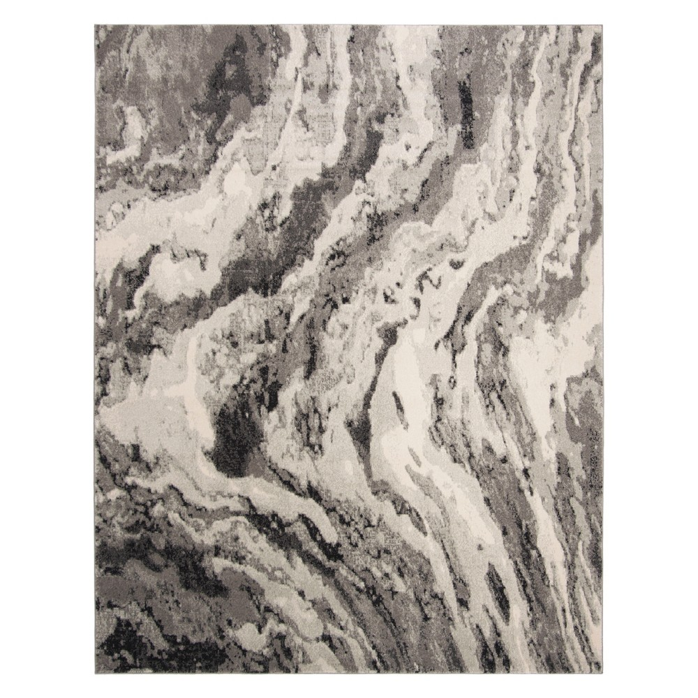 9'X12' Marble Loomed Area Rug Ivory/Gray - Safavieh, White