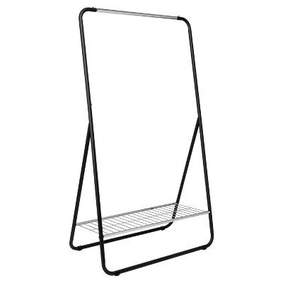 Single Rod Garment Rack with Shelf - Black/Silver - Room Essentials™