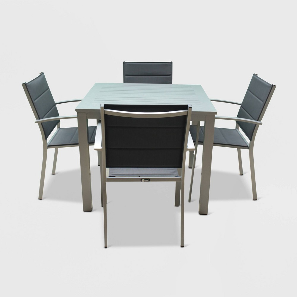 Image of Skyline 5pc Aluminum Outdoor Square Table Dining Set - Gray - Courtyard Casual