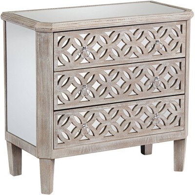 """55 Downing Street Charly 33 1/4"""" Wide Natural Whitewash 3-Drawer Accent Chest"""