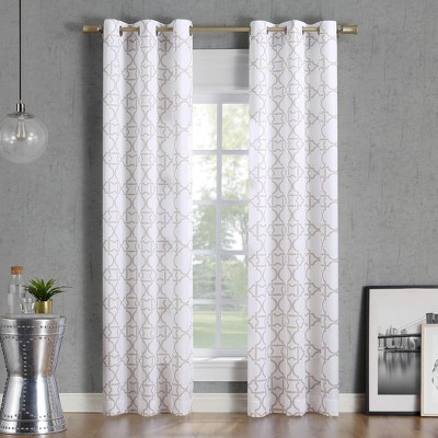 40x84  Barkley Trellis Semi-Sheer Grommet Curtain Panel Taupe-No. 918