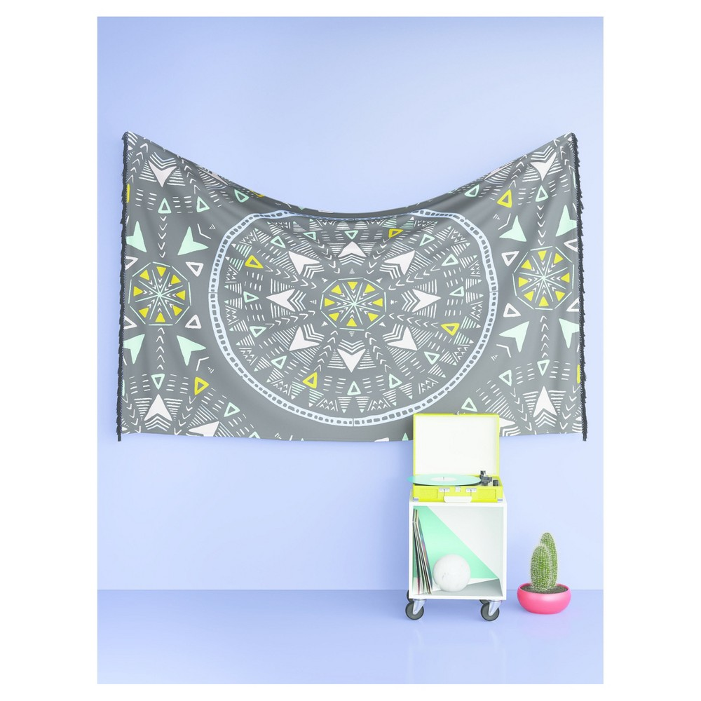 Medallion Print Tapestry 11'x8' Turquoise - Room Essentials