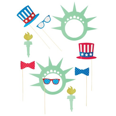 4th Of July Photobooth Party Paper Shapes Kit