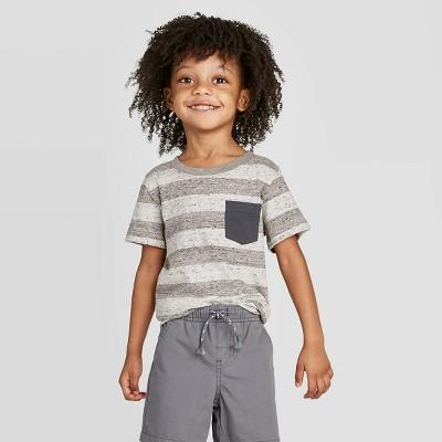 Toddler Boys' Stripe T-Shirt - Cat & Jack™ Charcoal 12M