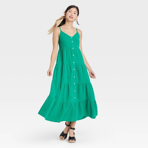 Women's Sleeveless Button-Front Tiered Dress - Universal Thread™ - image 1 of 3