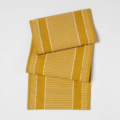 "72""x14"" Clipped Stripe Table Runner Yellow - Opalhouse™"