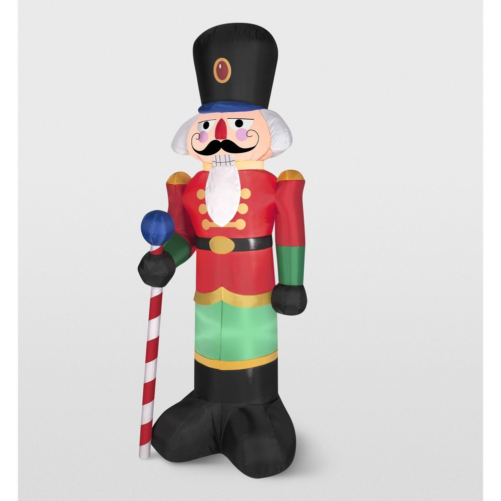Image of Gemmy Red Nutcracker Inflatable Holiday Decoration