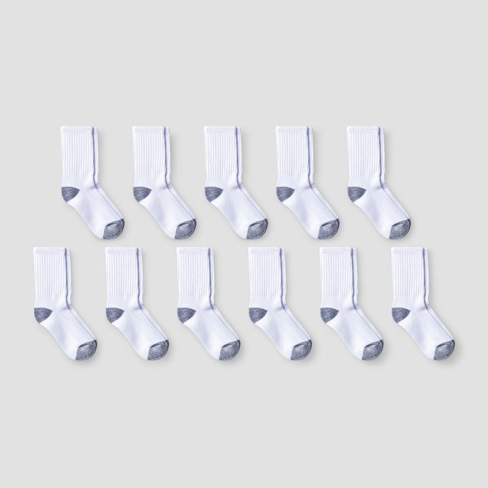 Boys' 10pk +1 Bonus Pack Crew Socks - Cat & Jack White S