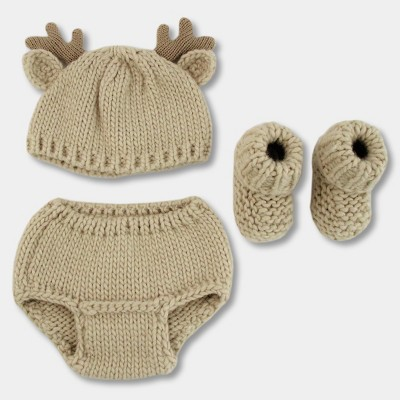 Baby Deer 3pc Chunky Knit Hat/Diaper Cover/Bootie Set - Cloud Island™ Khaki One Size