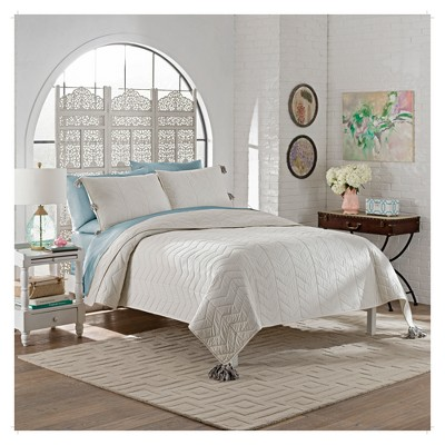 White Solid Nadia Quilt Set (King)3pc - Marble Hill