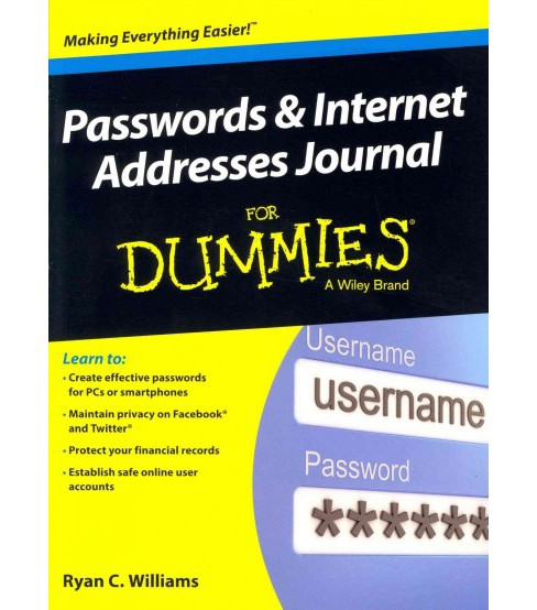 Passwords & Internet Addresses Journal for Dummies (Paperback) - image 1 of 1