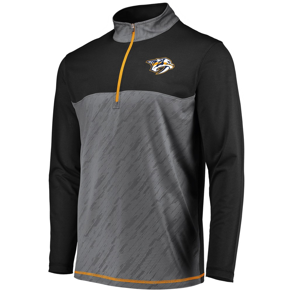 Nashville Predators Men's Striped Geo Fuse Gray/ Black 1/4 Zip Xxl