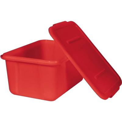 School Smart Storage Tote with Snaptite Lid, 7-1/2 x 11-3/4 x 15-1/2 Inches, Red
