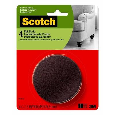 """Scotch 3"""" 4pk Felt Pads Brown"""