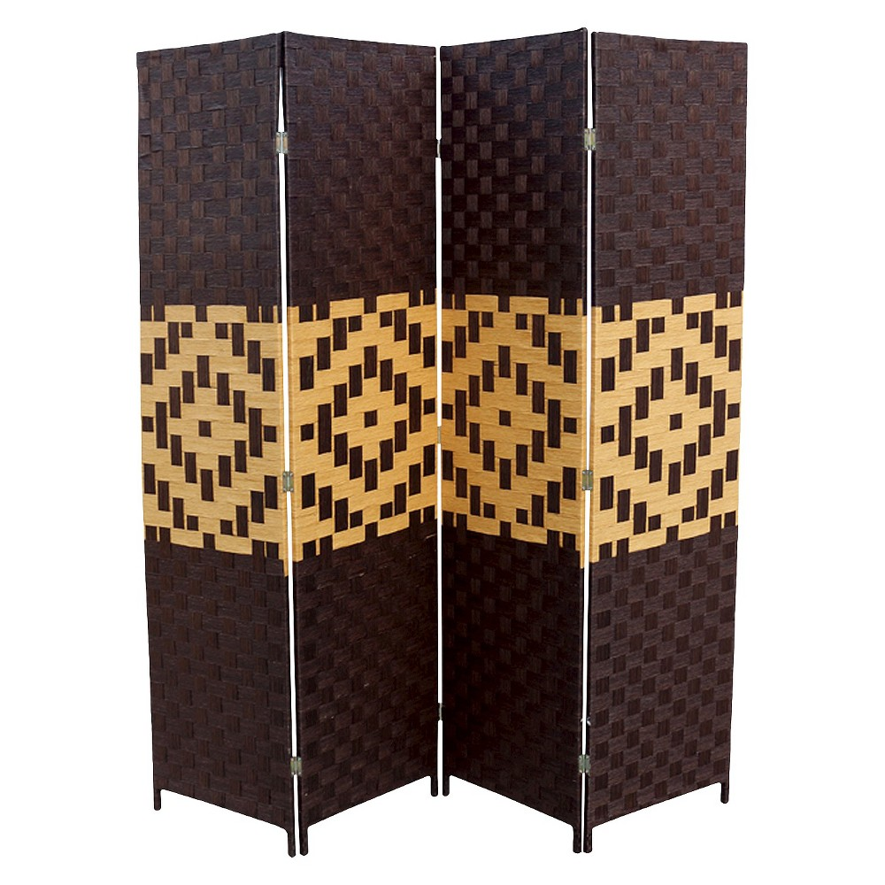 """Image of """"4 Panel Paper Straw Weave Screen on 2"""""""" Legs Brown - Ore International"""""""