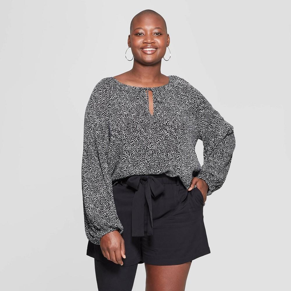 Women's Plus Size Floral Print Long Sleeve V-Neck Blouse - Ava & Viv Black X