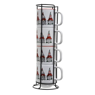 4pc Ceramic Gnome Stack Rack Red/White - Peppermint & Pine