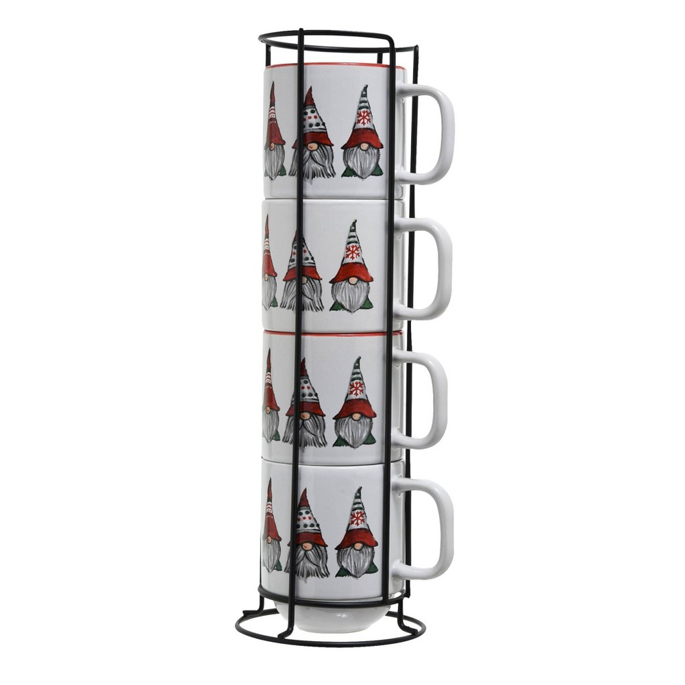 4pc Ceramic Gnome Stack Rack Red White Peppermint 38 Pine