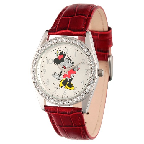 Women's Disney Minnie Mouse Silver Alloy Glitz Watch - Red - image 1 of 2