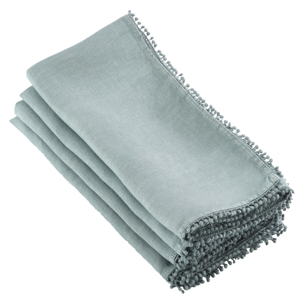"Image of ""4pk Blue PomPom Design Napkin 20"""" - Saro Lifestyle"""