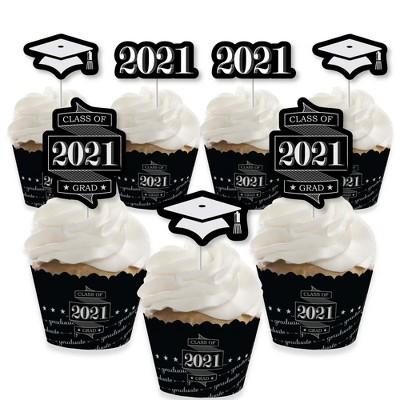 Big Dot of Happiness Graduation Cheers - Cupcake Decoration - 2021 Graduation Party Cupcake Wrappers and Treat Picks Kit - Set of 24
