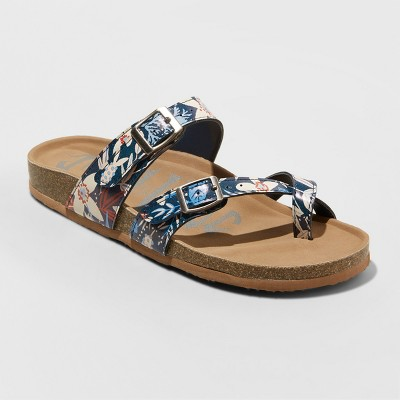 Womens Mad Love Prudence Footbed Sandals - Navy 9