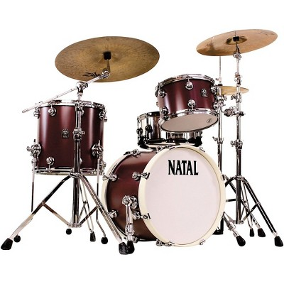 Natal Drums Cafe Racer Traditional Jazz 3-Piece Shell Pack with 18 in. Bass Drum Oxblood Red Hot Rod Suede
