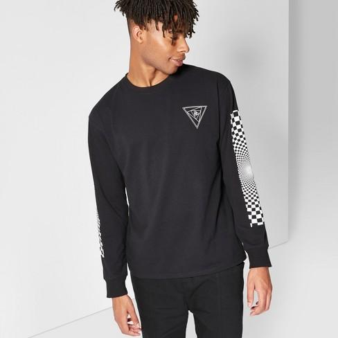 Men's Long Sleeve Graphic T Shirt Original UseT Black