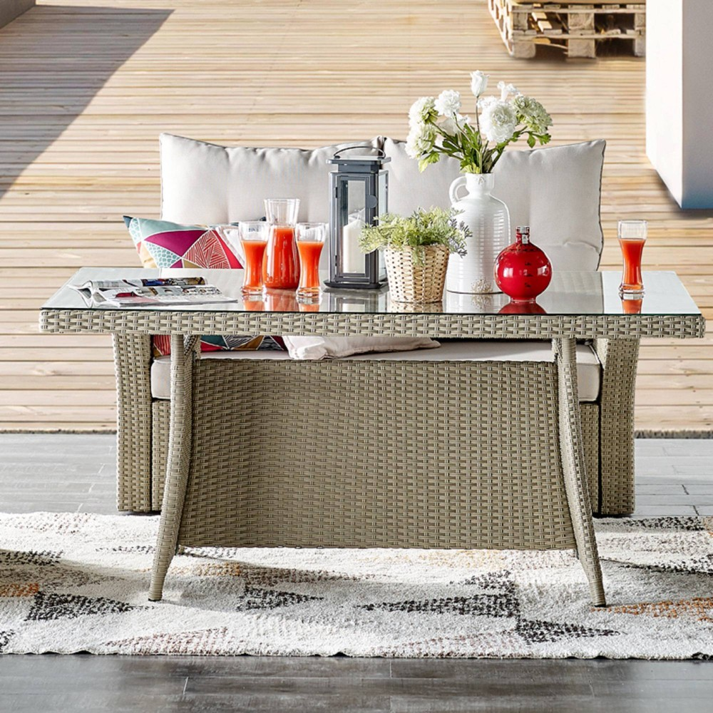 "Image of ""57"""" x 33"""" All-Weather Wicker Canaan Outdoor Cocktail Table Brown - Alaterre Furniture"""