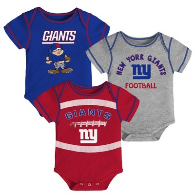 NFL New York Giants Baby Boys' Newest Fan 3pk Bodysuit Set - 3-6M