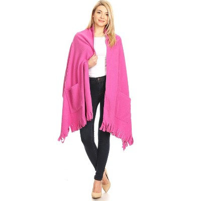 White Mark Womens Three Quarter Sleeve V Neck Poncho Sweater - Pink One Size Fits Most