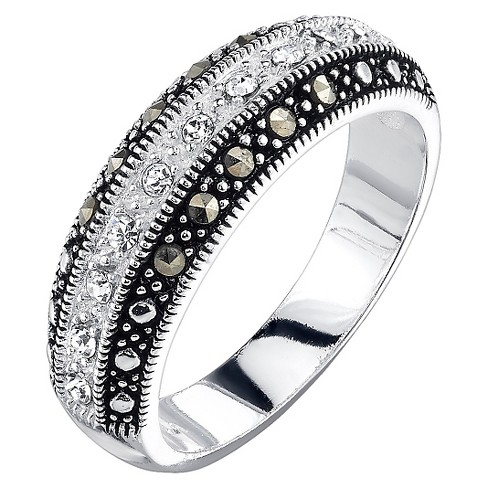 Silver Plated Cubic Zirconia Marcasite and Crystal Stripe Band Ring - image 1 of 1