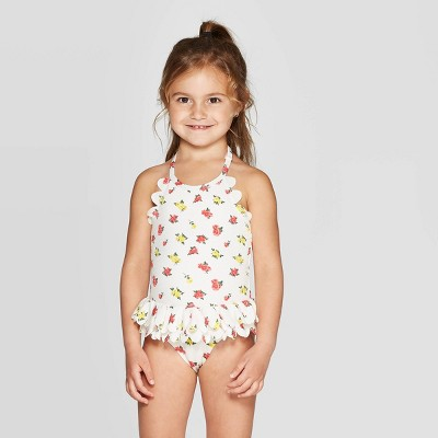 Mila & Emma Toddler Girls' Scallop Floral Swimsuit - White 12M