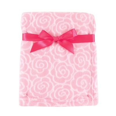 Luvable Friends Baby Girl Coral Fleece Blanket, Pink Rose, One Size
