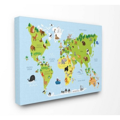"""16""""x1.5""""x20"""" World Map Cartoon and Colorful Stretched Canvas Wall Art - Stupell Industries"""