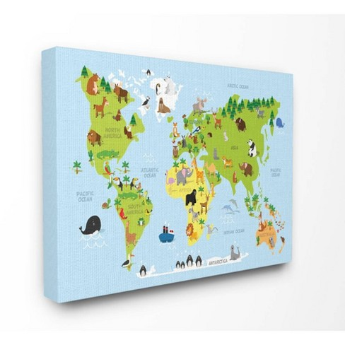 """24""""x1.5""""x30"""" World Map Cartoon and Colorful Oversized Stretched Canvas Wall Art - Stupell Industries - image 1 of 2"""
