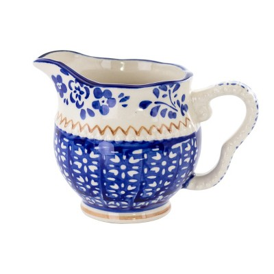Meritage Botany 5.5 Inch 10 Ounce Stoneware Creamer in Deep Blue