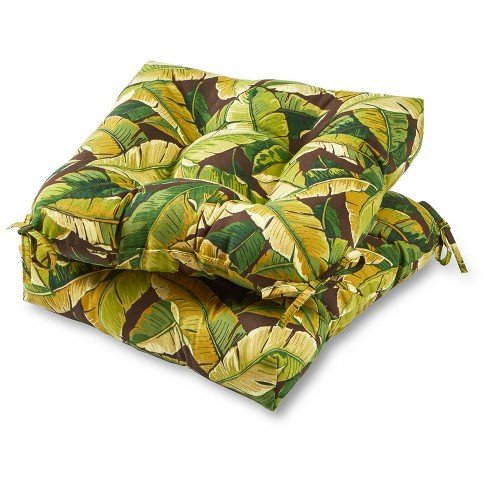 Set Of 2 Outdoor Chair Cushions Palm Leaves Green Greendale Home