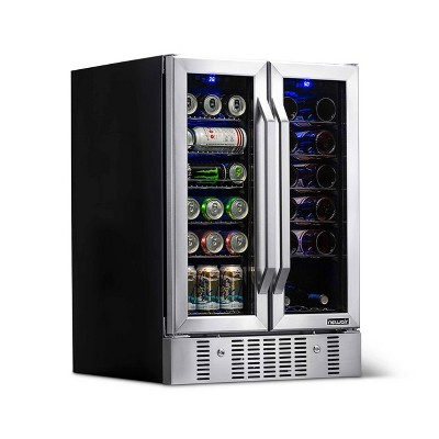 NewAir 18 Bottle and 58 Can Dual Zone Beverage and Wine Cooler - Stainless Steel AWB-360DB
