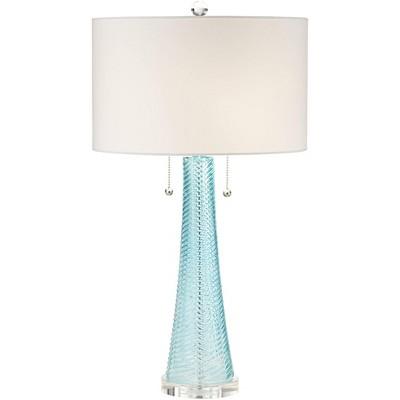 Possini Euro Design Modern Table Lamp Light Aqua Blue Textured Glass White Drum Shade for Living Room Family Bedroom Bedside