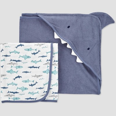 Baby Boys' Shark Hooded Bath Towel - Just One You® made by carter's White
