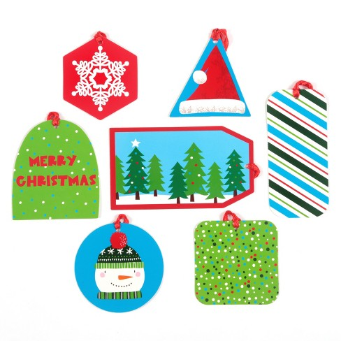 50ct Christmas Flocked Can-O-Tags Blue/Green/Red - Wondershop™ - image 1 of 1