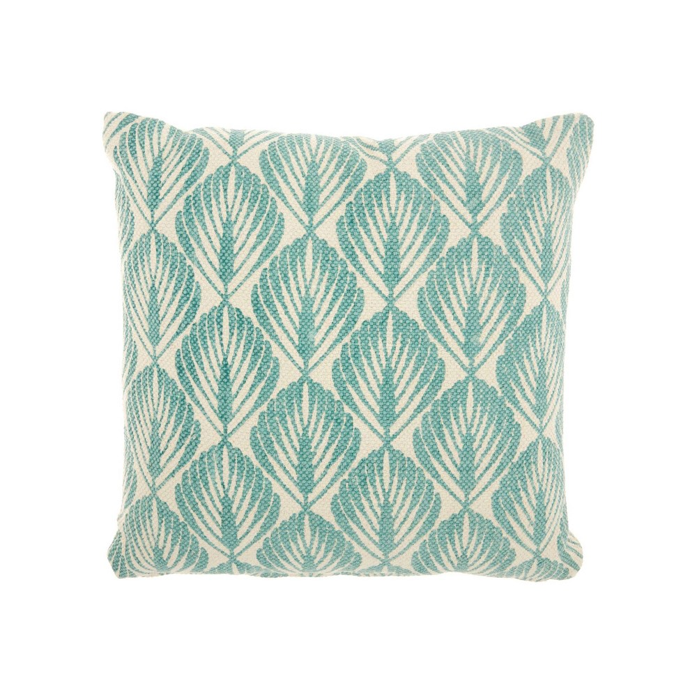 Image of Leaves Mineral Oversize Square Throw Pillow Blue - Studio NYC Design
