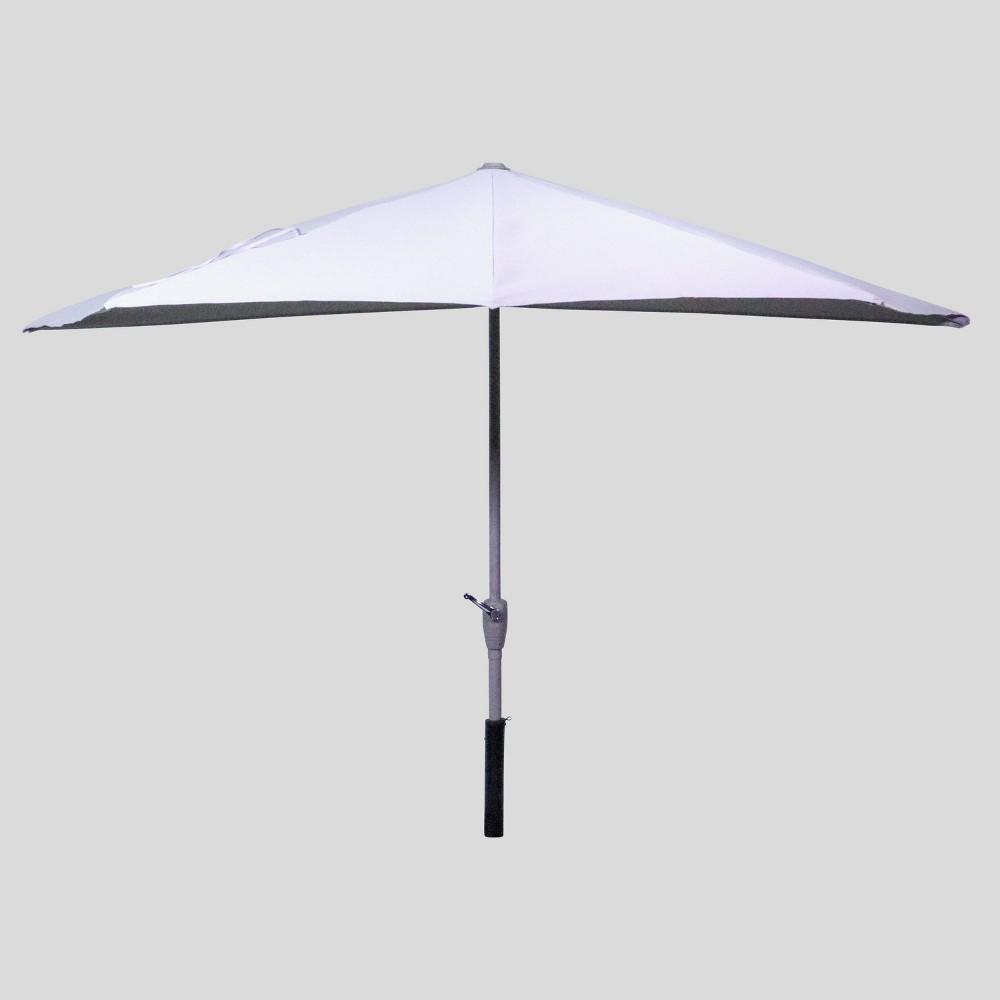 Image of 9' x 4' Half Moon Patio Umbrella Dove - Ash Pole - Project 62
