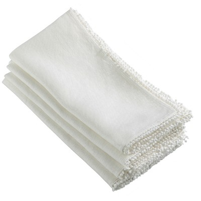 4pk Ivory PomPom Design Napkin 20  - Saro Lifestyle®