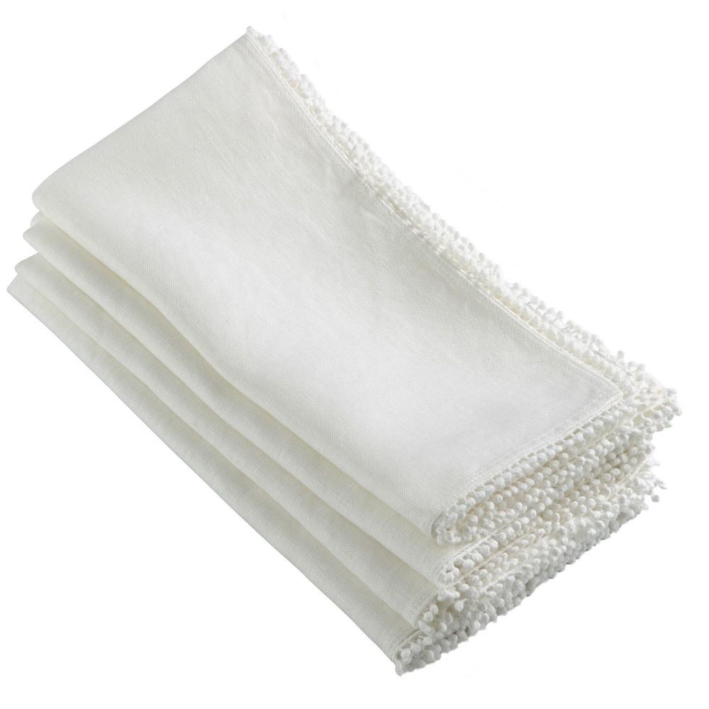 4pk Ivory Pompom Design Napkin 20 34 Saro Lifestyle