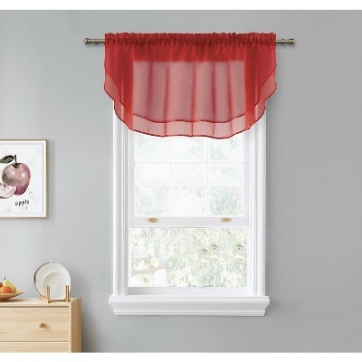 Kate Aurora Living Double Layered Sheer Rod Pocket Ascot Window Valances - 55 in. W x 24 in. L, Red