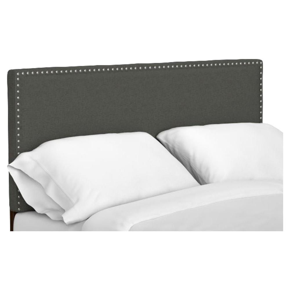 Image of Adine Upholstered Linen Headboard - Basil Green (Full/Queen)